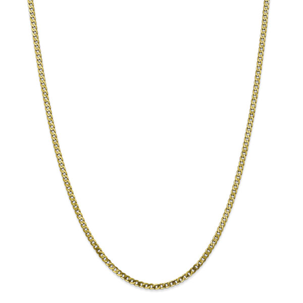 2.9mm 10K Gold Curb Chain Necklace, 24