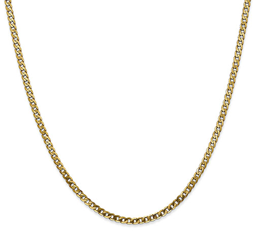 2.9mm Curb Chain Necklace, 14K Solid Gold