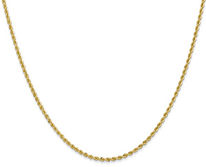 2mm 14K Solid Gold Regular Rope Chain