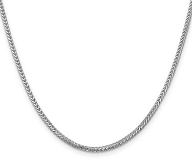 2mm 14K White Gold Franco Chain Necklace in 20