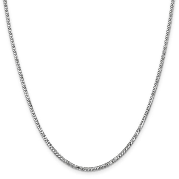 14K White Gold 2mm Franco Chain Necklace in 24