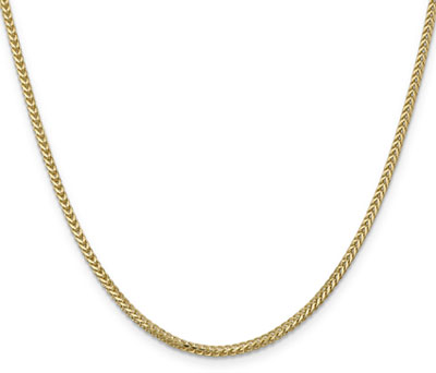 2mm 14K Solid Gold Franco Chain Necklace, 20 Inch