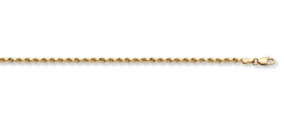 2mm Rope Bracelet, 14K Solid Gold