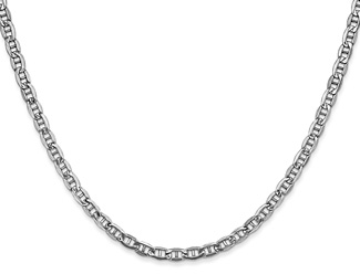 3.2mm 14K White Gold Mariner Chain Necklace