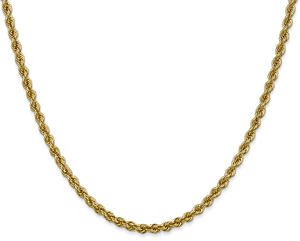 3mm 14K Solid Gold Handmade Rope Chain