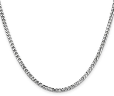 14K White Gold 3mm Franco Chain Necklace, 24 Inch Length