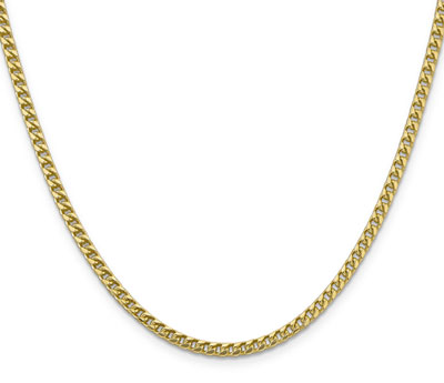 3mm 14K Solid Gold Franco Chain Necklace in 24