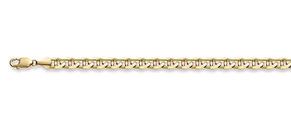 14K Gold 3mm Mariner Link Chain