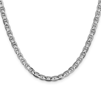 4.5mm 14K White Gold Mariner Chain Necklace