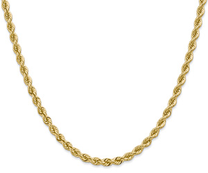 4mm 14K Solid Gold Handmade Rope Chain