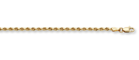 4mm Rope Bracelet, 14K Solid Gold