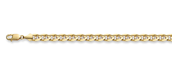14K Gold 4mm Mariner Link Chain