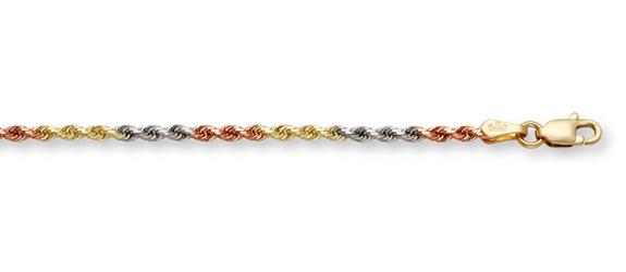 14K Tri-Color Gold Rope Chain (4mm)