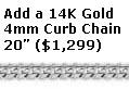 4mm white gold curb chain, 20