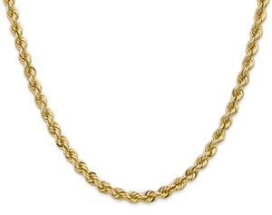 5mm 14K Solid Gold Regular Rope Chain, Handmade