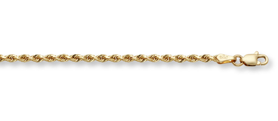 5mm Rope Bracelet, 14K Solid Gold