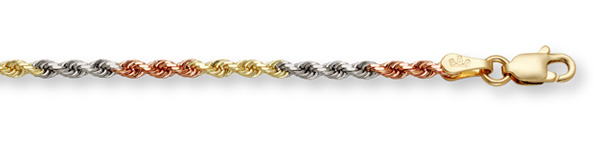 14K Tri-Color Gold Rope Chain (5mm)
