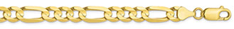 10K Gold 6.75mm Figaro Link Chain Necklace, 22