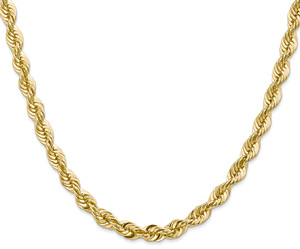 6mm 14K Solid Gold Handmade Rope Chain