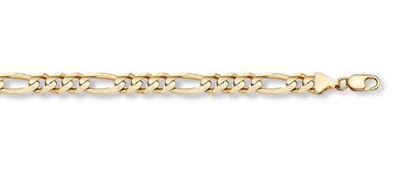 14K Gold Figaro Link Bracelet (6mm)
