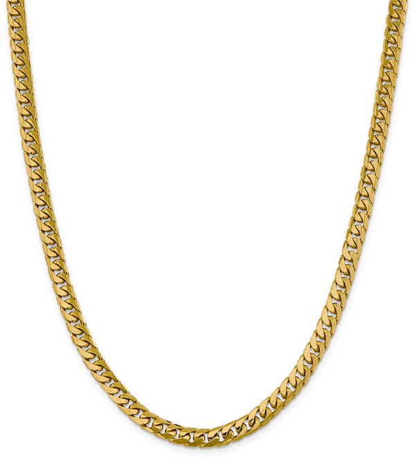 6mm Miami Cuban Chain Necklace, 14K Gold, 24