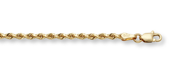 6mm Rope Bracelet, 14K Solid Gold