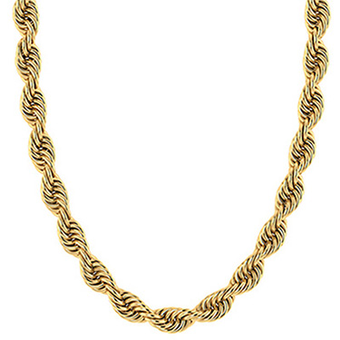 7mm 14K Solid Gold Handmade Rope Chain Necklace