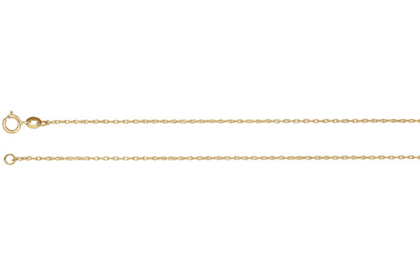 18K Gold 1mm Rope Chain Necklace