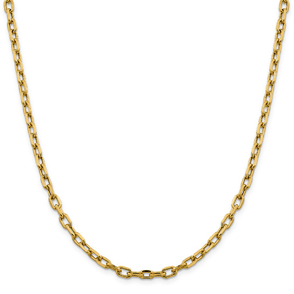 4.9mm 14K Gold Open Cable Chain Necklace, 24