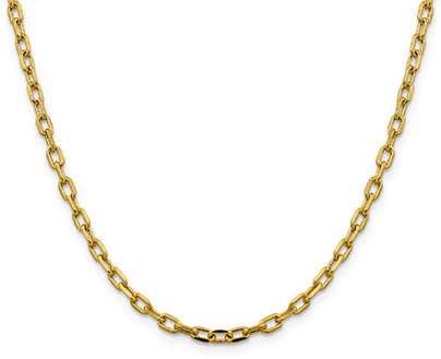 14K Gold Cable Link Chain Necklace, 3.7mm, 20