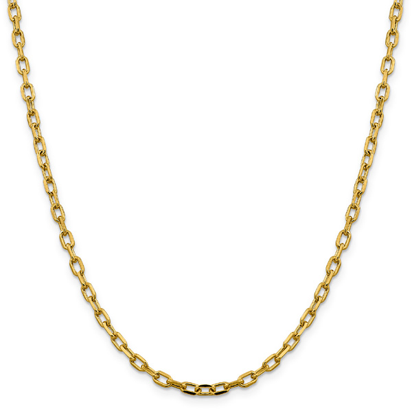 14K Yellow Gold Cable Chain Necklace, 3.7mm, 24