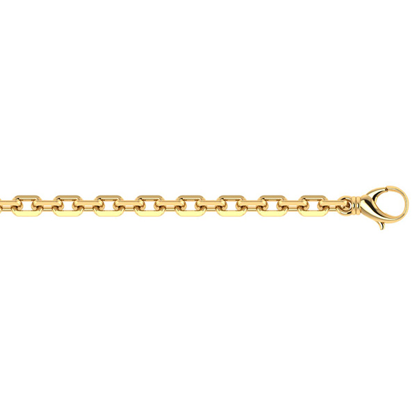 Handmade 14K Solid Gold 4mm Alternating Cable Link Chain Necklace