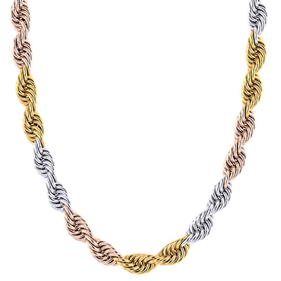 14K Tri-Color Gold 8mm Handmade Rope Chain Necklace