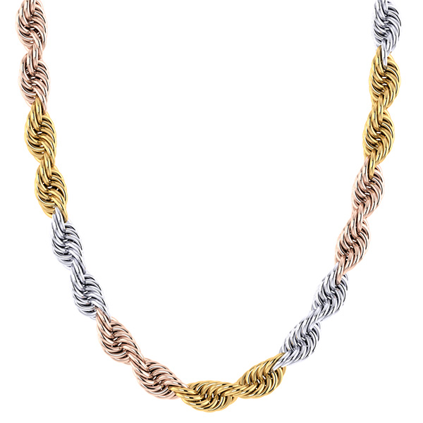 14K Solid Tri-Color Gold Rope Chain Necklace, 7mm