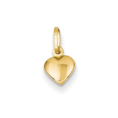 Italian Small Puffy Heart Charm, 14K Gold