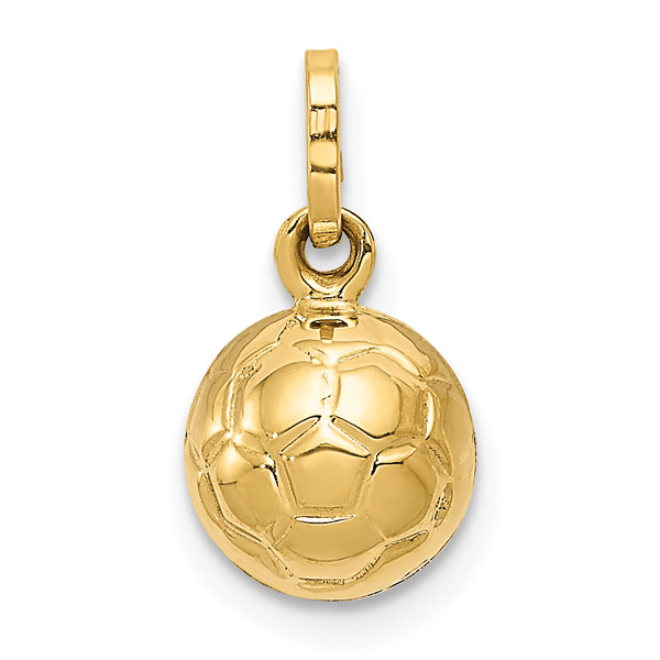 3D Italian Soccer Ball Charm, 14K Gold