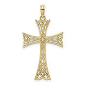 10K Gold Celtic Knot Cross Pendant or Necklace