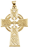 14K Gold Celtic Knot Cross Pendant Necklace
