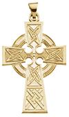14K Gold Celtic Knot Cross Pendant Necklace