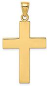 14K Gold Men's Plain Polished Cross Necklace Pendant