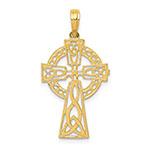 14K Gold Pretzel Knot Celtic Cross Pendant