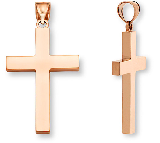 14K Rose Gold Solid Cross Pendant for Women