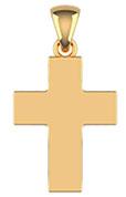 14K Solid Gold Men's Plain Thick Heavy Cross Pendant