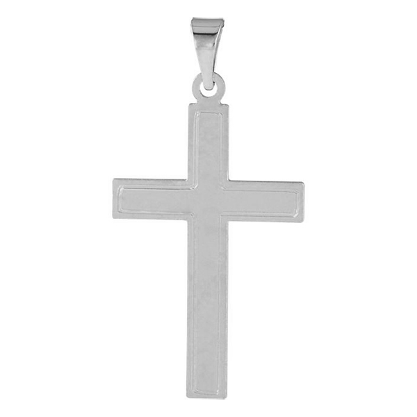 14K White Gold Brushed Cross Pendant
