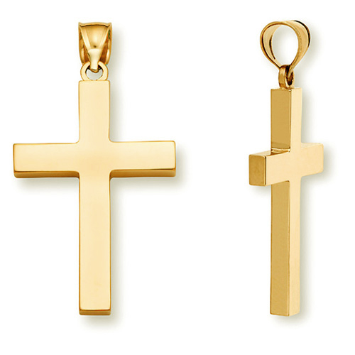 22K Gold Women's Solid Cross Pendant