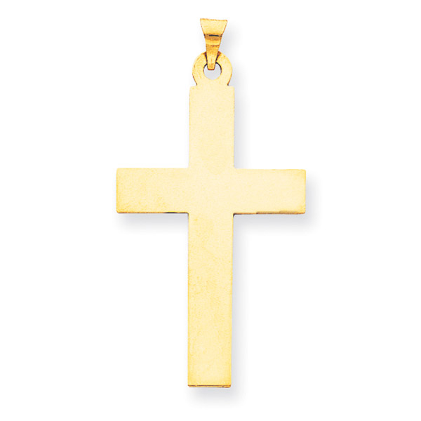 Men's 14K Solid Gold Plain Cross Pendant Necklace