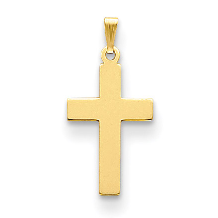 Plain Stamped Polished Cross Charm Pendant in 14K Yellow Gold
