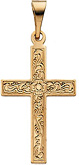 Floral Cross Pendant in 14K Yellow Gold