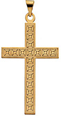 Checked Cross Pendant, 14K Gold