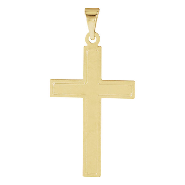 Brushed Cross Pendant in 14K Yellow Gold